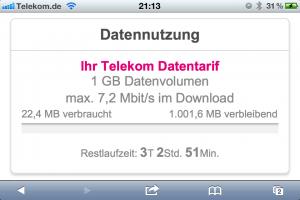Verbrauchsanzeigen für mobile Daten bei der Telekom